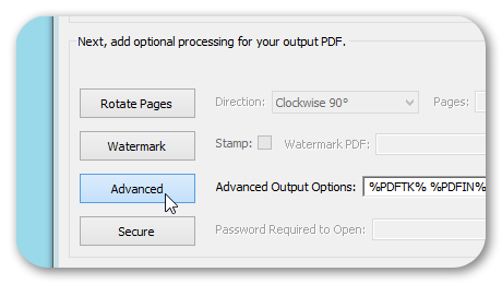 Advanced Processing Option